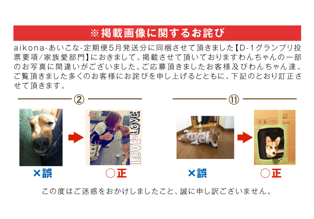 D-1グランプリ愛犬の家族愛部門掲載画像に関するお詫び